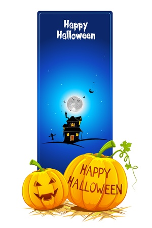 illustration of pumpkin with haunted house in halloween card illustration