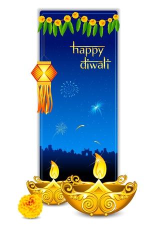 an oil lamp: Ilustración de quemar diya con colgando de la lámpara en tarjeta de diwali