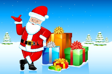 illustration of santa clause standing with gift boxes in winter landscape Illustration