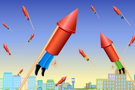 illustration of businessman flying in rocket jet on cityscape Stock Vector - 10668472