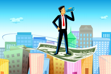 binocular: illustration of business man flying on dollar note above city