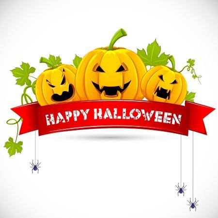ilustración de la calabaza de Halloween con la cinta en la tarjeta