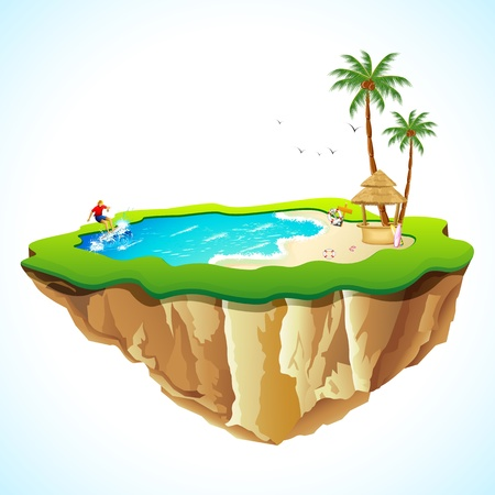 hobby hut: illustration of sea beach view with surfer on island Illustration