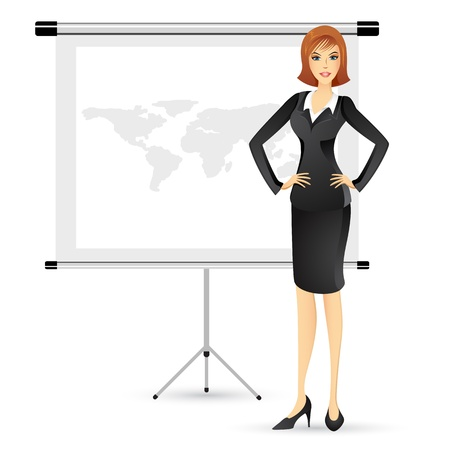 young teacher: illustration of businesslady giving presentation in white board