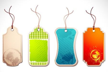 illustratie van de set van kleurrijke tag met string op abstracte achtergrond Vector Illustratie