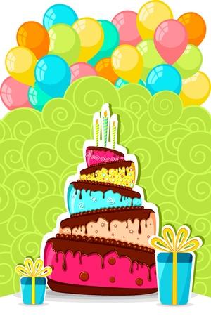 auguri di buon compleanno: illustrazione della torta di compleanno con il mazzo di palloncini colorati e confezione regalo Vettoriali