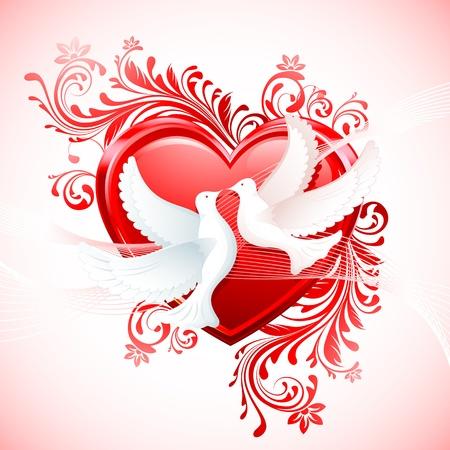 bondad: Ilustraci�n par de paloma con coraz�n sobre fondo floral abstracto