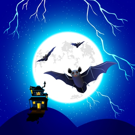 illustration of haunted house with flying bat in scary halloween night