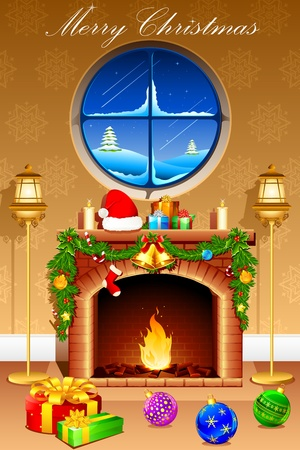 illustration of gift and decoration ball in front of fire place for christmas