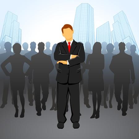 illustratie van de leider staat voor corportae menigte Vector Illustratie