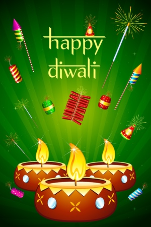 illustration of decorated diwali diya with fire cracker Vector