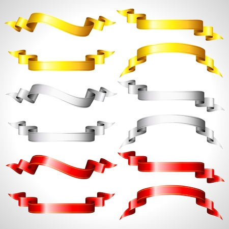illustration of set of different shape ribbons on isolated background Stock Vector - 10703827