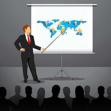 executive board: illustration of businessman giving presentation in conference Illustration