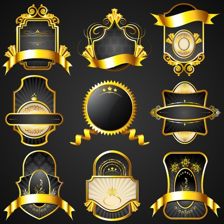 scroll shape: illustration of royal badge with golden frame on black background