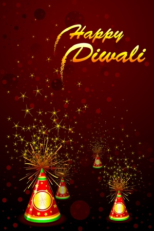 petardo: ilustraci�n de fondo diwali con fuegos artificiales de colores