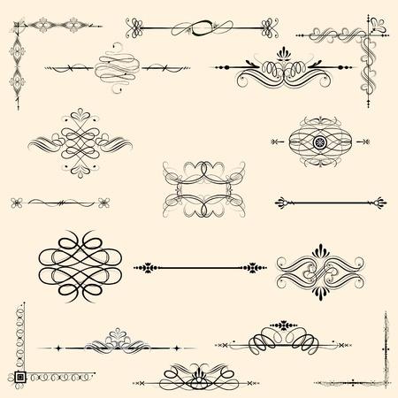 illustration of set of vintage design elements for frames Vector