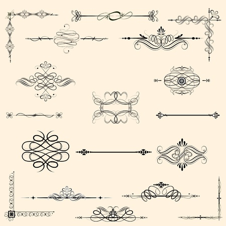 illustration of set of vintage design elements for frames Vector