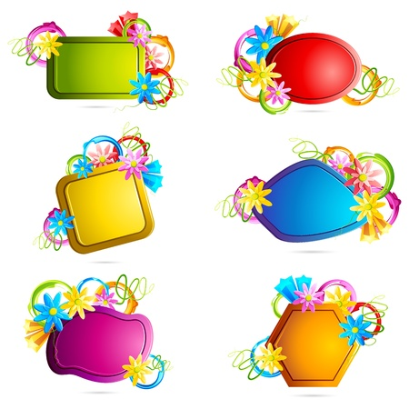 free space: illustration of set of colorful floral sale tag Illustration