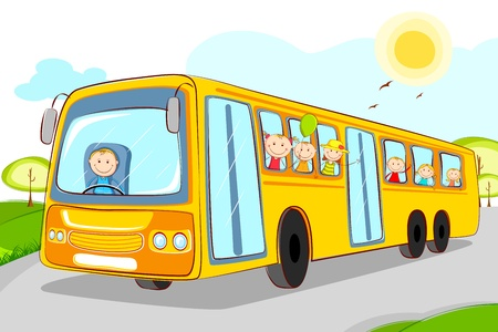 bus background: illustration of kids in school bus with driver Illustration