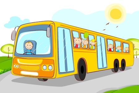 chofer de autobus: ilustración de los niños en el autobús escolar con chofer