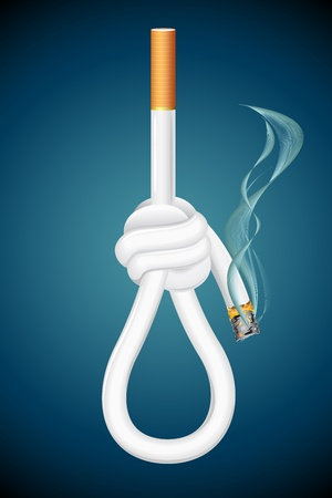 health hazard: illustration of burning cigarette in shape of noose hanging on abstract background