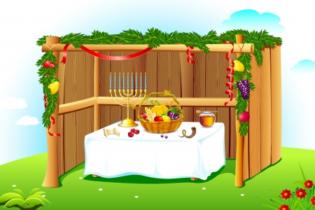 sukkah: illustration of sukkah decorated with leaves and fruit for sukkot