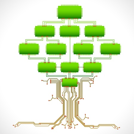capacitor: illustration of tree made of chip and electronic circuit