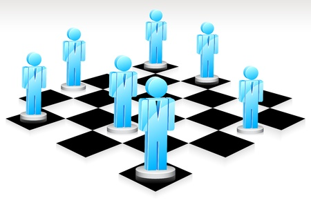 chess board: illustration of human icon standing on chess board Illustration