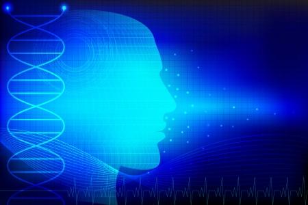 puls: ilustracja z ludzką głową na abstrakcyjnym tle medycznym