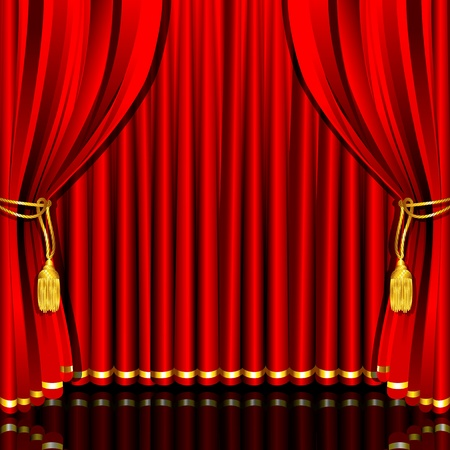 theater auditorium: illustration of red stage curtain drape tied with rope