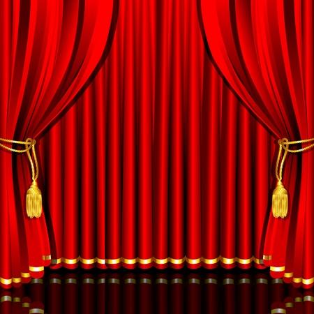 telon de teatro: Ilustración de la caída de la cortina de escenario rojo atado con una cuerda Vectores