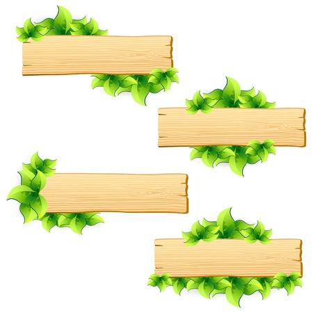 illustration of set of arrangement with green leaf and wooden board