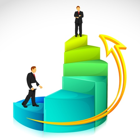 upward graph: illustration of businessman standing on bar graph on abstract background