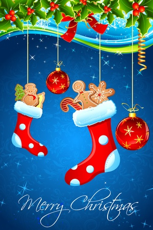 illustration of christmas goodies stuffed in santa stocking Vector