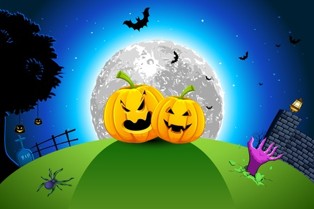 illustration of pumpkin in grassland in full moon halloween night Vector