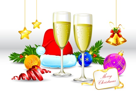 illustration of champagne glass with santa cap and christmas decoration Illustration