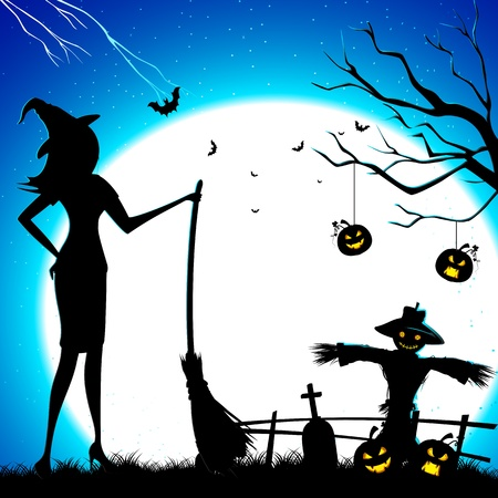 illustration of witch standing with broom in graveyard Vector