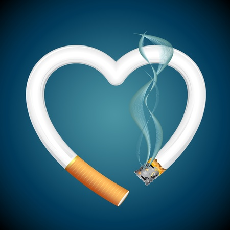 toxic substance: illustration of burning cigarette in shape of heart on abstract background