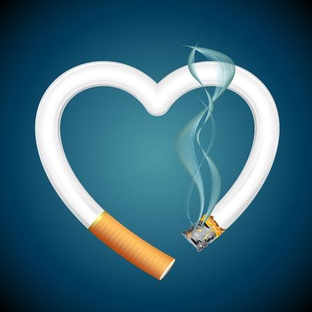 sigaretta: illustrazione di bruciare sigarette in forma di cuore su sfondo astratto Vettoriali
