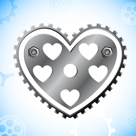 illustration of cog wheel in shape of heart on abstract background Vector