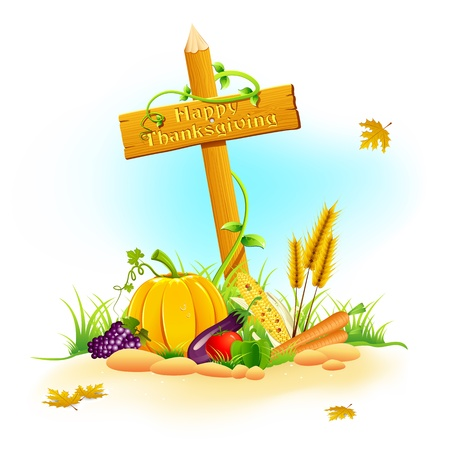 illustration of fruits and vegetable in garden for thanksgiving illustration