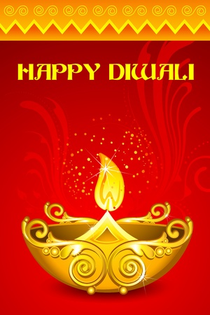 illustration of decorated diya for happy diwali illustration