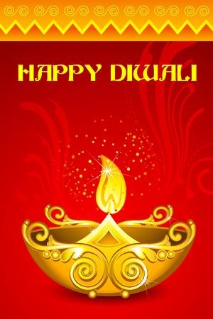 illustration of decorated diya for happy diwali illustration