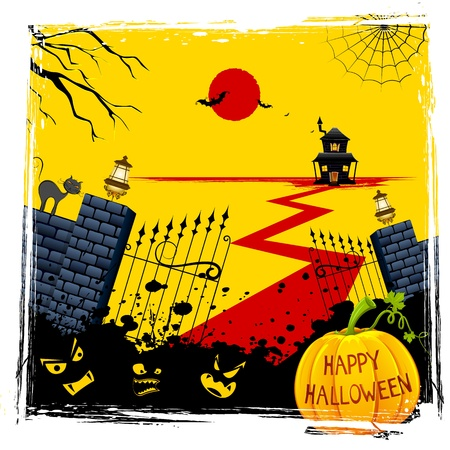 lamp house: illustration of gate of haunted house with halloween pumpkin