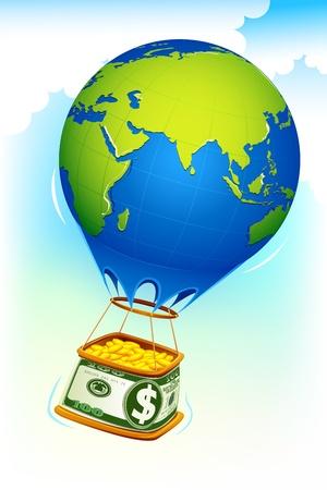 valuables: illustration of dollar hot air balloon full of gold coin Illustration