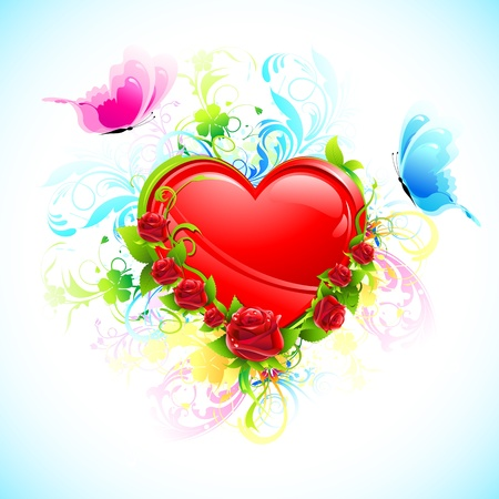 truelove: illustration of heart decorated with flower and flying butterfly