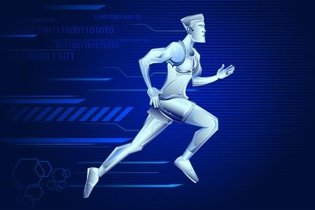 illustration of iron man running on technological background Vector