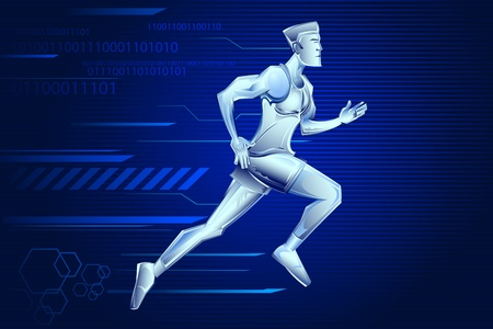 Iron Man: illustration of iron man running on technological background