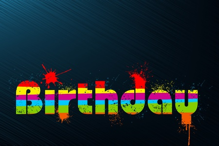 illustration of birthday in multicolor splash on abstract background Stock Vector - 10745837