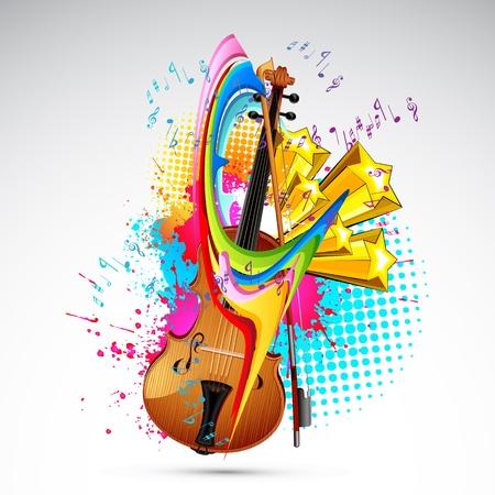 geigen: Illustration der Violine auf bunte abstrakte Grunge Hintergrund